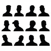 Set of silhouettes of men's heads  — Stock Vector