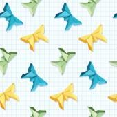 Origami kelebek ekose bir arka plan üzerinde gelen Dikişsiz desen — Stok Vektör
