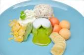 Grüner Tee Lava Kuchen dessert — Stockfoto
