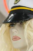 Mannequin girl blonde with cap — Stock Photo