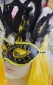 Mannequin girl blonde in black mask Purim Carnival — Stock Photo
