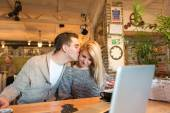 Happy couple in the cafe — Stock Photo