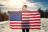 Young man with USA flag — Stock Photo