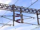 Overhead line of railway tracks — Stockfoto