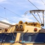 Overhead line of railway tracks and pantograph — Stock Photo #52671321