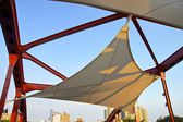 Outside square with sail canvas shade — Stock Photo