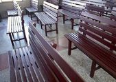 Church pews closeup for prayers in village — Stock Photo
