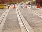 The construction site of new light rail rapid transportation system — Stock Photo
