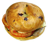 Bagel sandwich with salad and meat — Stock Photo