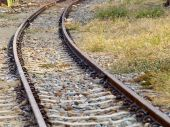 Zavřít pohled na železniční trať — Stock fotografie