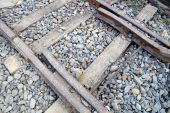 The close view of railway track — Stock Photo
