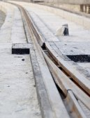 El sitio de construcción del nuevo sistema de transporte rápido de tren ligero — Foto de Stock