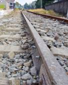 Близкое представление о железнодорожном пути — Стоковое фото