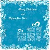 Weihnachten-Geschenkschachtel aus Schneeflocken auf blauem Hintergrund gemacht — Stockvektor