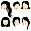 Vector illustration of a beautiful girls with black hair.Part 2 — Stock Vector #60265903