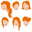 Vector illustration of beautiful girls with red hair.Part 1 — Stock Vector #60265917