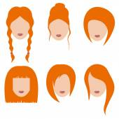 Vector illustration of beautiful girls with red hair.Part 2 — Stock Vector