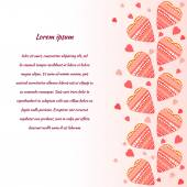 Vector background with red doodle hearts — Stock vektor