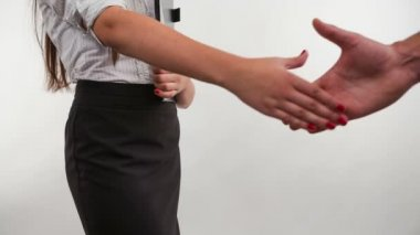 Business woman handshaking with an other person - isolate dover a white background — Stock Video