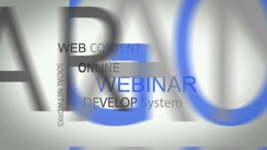 Webinar online develop solutions word tag cloud animation — Stock Video