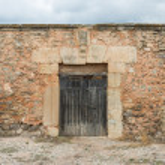 Door of old church of San Miguel. Moya. Cuenca. Spain — Stock Photo #53758249