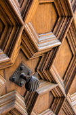Knob and decoration on an old door. Valencia. Spain — Stock Photo