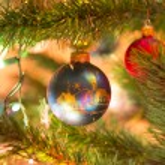 Beautiful hand made glass balls on Christmas Tree — Stock Photo #56999179