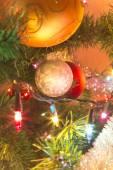Beautiful glass balls on Christmas Tree — Stockfoto
