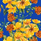 Hibiscus and Marigold seamless pattern — Foto Stock