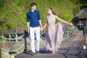Happy Young Couple Walking Together — 图库照片