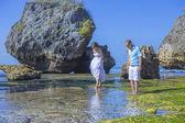 Loving Wedding Couple on Ocean Coastline. — Stock Photo