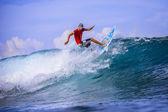 Surfer on Amazing Blue Wave — Stock Photo