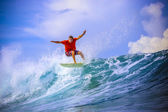 Surfer on Amazing Blue Wave — Stock Photo