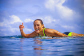 Surfer girl on Amazing Blue Wave — Stock Photo