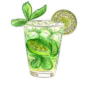 Doodle cocktail with mint and lime — Stockvector