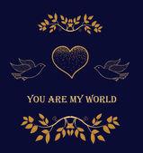 Dark card with golden heart, birds and branches — Vector de stock