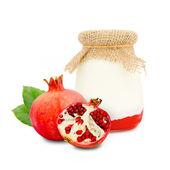 Pomegranate yogurt — Stock Photo