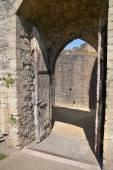 Chepstow castle, Wales, uk - 26. Juli 2014: Chepstow Castel Ruinen, Stiftung, 1067-1188. liegt am Ufer des Flusses wye — Stockfoto