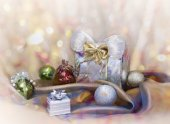 Christmas background with present box — Stock Photo