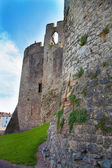 CHEPSTOW CASTEL, WALES, UK - 26 JULY 2014: Chepstow castel ruins, Foundation, 1067-1188. Situated on bank of the River Wye — Stock Photo