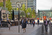 LONDON, UK - JULY 03, 2014: People blur. Office people moving fast to get to work at early morning in Canary Wharf aria — Stock Photo