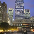 LONDON, UK - JUNE 14, 2014: Canary Wharf at dusk, Famous skyscrapers of London's financial district at twilight. — Stock Photo #54777531