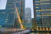 LONDON, UK - JUNE 14, 2014: Canary Wharf at dusk, Famous skyscrapers of London's financial district at twilight. — Stock Photo