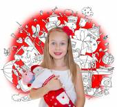 Little girl golding Christmas presents and doodle background with lots of toys — Stock Photo