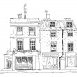 Old English town houses with shops on the ground floor. Sketch collection of famous  buildings — Stock Photo #56469153