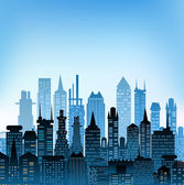 City background made of different building silhouettes — Foto Stock