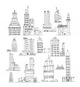 Business office buildings set,  Sketch collection — Stock Photo