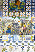 Decorative tiles on Madrid street. National decorative art with agricultural symbols — Stock Photo