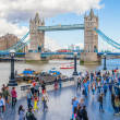 LONDON, UK - AUGUST 16, 2014: Tower bridge and river Thames South bank walk. — Stock Photo #58588767