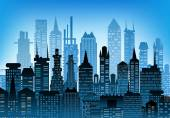 City background made of building silhouettes — Stockfoto
